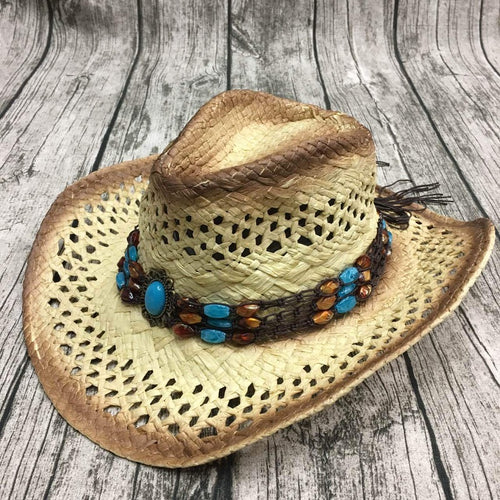 Handmade Raffia Hollow Hat With Punk Rope Wide Curling Brim