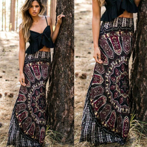 Summer Womens BOHO Beach Sundress Evening Party  Long Skirt Casual Skirt High Waist