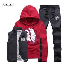 Load image into Gallery viewer, Thick Inner Wool Men Tracksuit Set Fleece Jacket Vest Pants 3 Pieces Sets Pullover Hoodies Men set