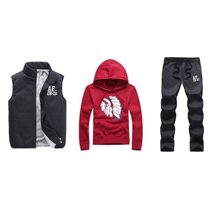 Thick Inner Wool Men Tracksuit Set Fleece Jacket Vest Pants 3 Pieces Sets Pullover Hoodies Men set