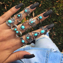 Load image into Gallery viewer, 11pcs/Set Vintage Antique Silver Eagle Deer Moon Crown Finger Midi Knuckle Rings Set