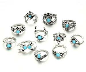 11pcs/Set Vintage Antique Silver Eagle Deer Moon Crown Finger Midi Knuckle Rings Set