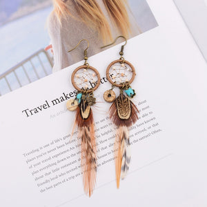 Bohemian Hollow Dream Catcher Leaf Feather  Blue Natural Stone Drop Dangle Earrings