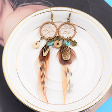 Load image into Gallery viewer, Bohemian Hollow Dream Catcher Leaf Feather  Blue Natural Stone Drop Dangle Earrings