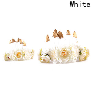 2 pc/ Set Feather Flower Crown For Mom  Hair Bands  Kids Matching Headwear