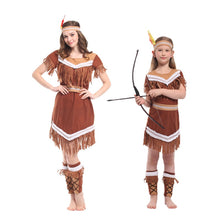 Load image into Gallery viewer, Costumes American Indian Princess Cosplay Women Native Hunter Huntress Costume Girl Fancy Dress for Adult Kids