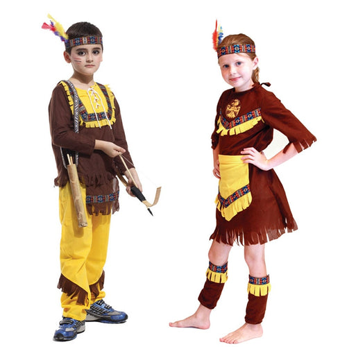 Costumes Kids American Indian Prince Princess Native Hunter Huntress Costume for Boy Girl