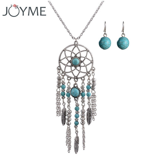 Tassel Dream Catcher Stone Feather Chain Jewelry Set