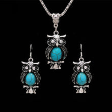 Load image into Gallery viewer, Vintage Owl Jewelry Sets for Women Wedding Party Necklace Earring Boho Natural Stone African Jewelry Sets