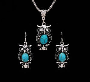 Vintage Owl Jewelry Sets for Women Wedding Party Necklace Earring Boho Natural Stone African Jewelry Sets