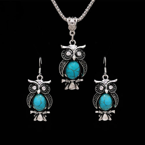 Owl Natural Stone Jewelry Sets