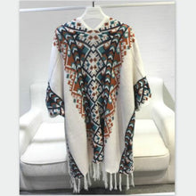 Load image into Gallery viewer, Vintage ethnic fringed knit Cloak Geometric Poncho bat-sleeved Tassels Cape cardigan sweater shawl Woman coat Pashmina 2018 New