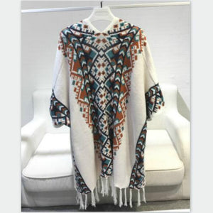 Vintage ethnic fringed knit Cloak Geometric Poncho bat-sleeved Tassels Cape cardigan sweater shawl Woman coat Pashmina 2018 New