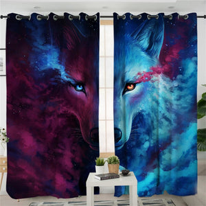 Where Light And Dark Meet by JoJoes Curtains 3d Wolf Living Room Curtain Psychedelic Window Treatment Drapes Home Decor 1/2pcs