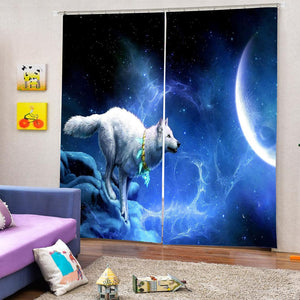 Wolf 3d Printed  Decorations Window  American Living Room Bedroom curtains