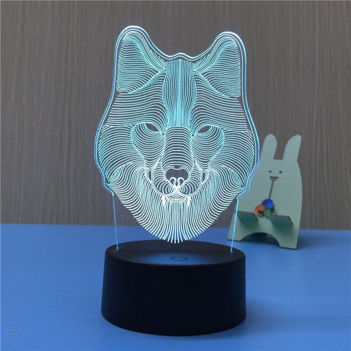 Wolf Head 3D LED Lamp Night Light