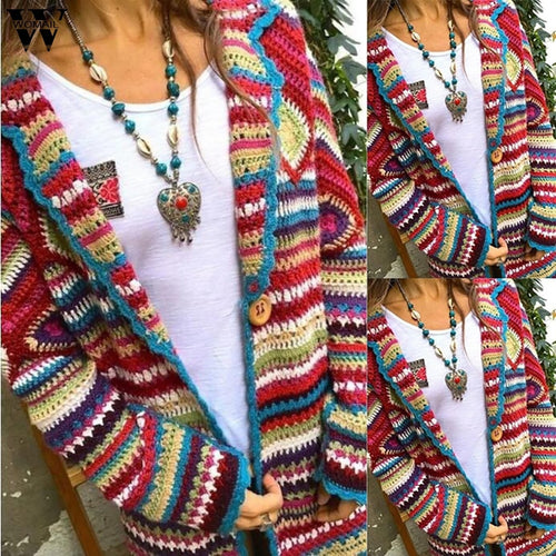 Multicolor Print Ethnic style Casual Winter fashion Cardigan Knitted sweater
