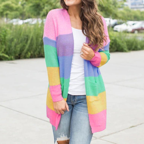 Patchwork Knitted Long Sleeve Pockets Rainbow Stripe Cardigan