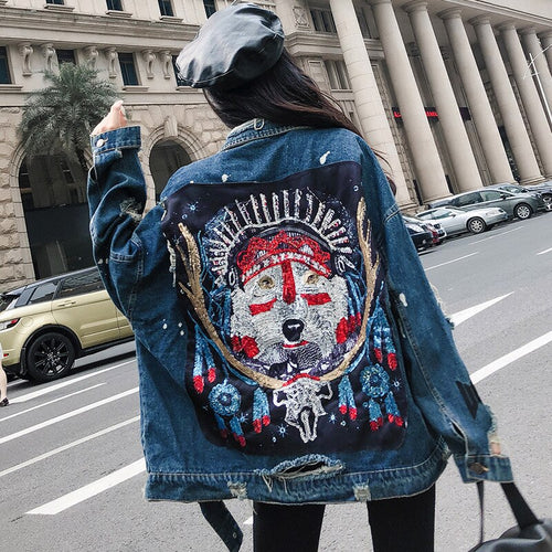 Patchwork Wolf Totem Ripped Hole Denim Jacket