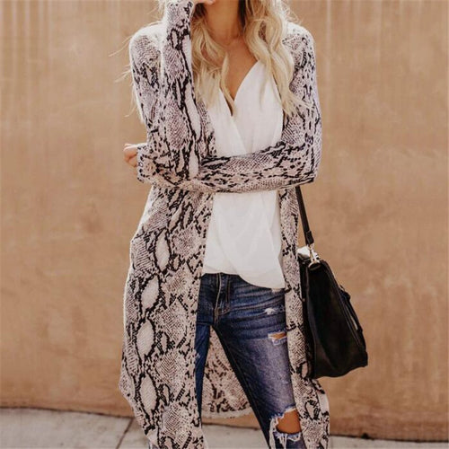 Leopard Boho Casual Long Sleeve Cardigan  Plus Size