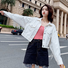 Load image into Gallery viewer, Women Denim Short Jackets 2019 Autumn Fashion Tops Female Casual Tassel Long Sleeve Button Outwear Coats White Top Jacket