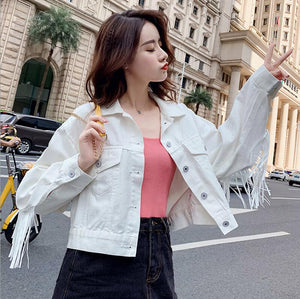 Women Denim Short Jackets 2019 Autumn Fashion Tops Female Casual Tassel Long Sleeve Button Outwear Coats White Top Jacket