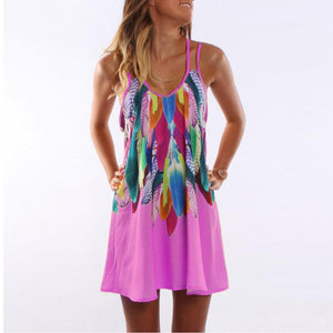 Boho Style Sexy Printed Plus Size Women Clothing Casual Summer Dress