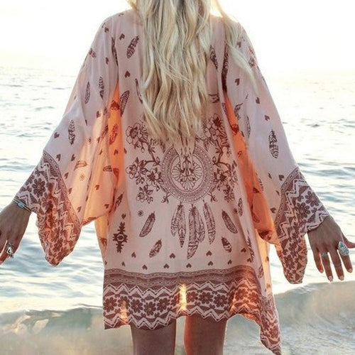 Boho Cardigan Vintage  Print Blouse Loose Shawl Cape Knits Bohemian Coat Jacket
