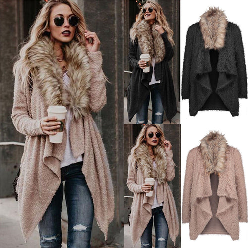 Fur Collar Long Trench  Warm  Casual Windbreaker