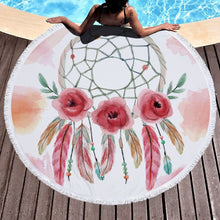 Load image into Gallery viewer, Round Beach Towel With Tassels Dream Catcher Blanket