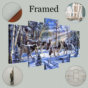 Decoration for Home 5 Piece Animal Wolf Canvas Art Print Poster Picture Frames Wall Panels for the Living Room Art