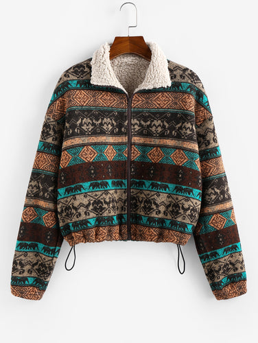 Tribal Print Plaid Faux Fur Lined Jacket