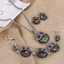 Load image into Gallery viewer, Vintage Owl Rhinestone Crystal Jewelry Necklace Earrings Set