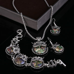 Vintage Owl Rhinestone Crystal Jewelry Necklace Earrings Set