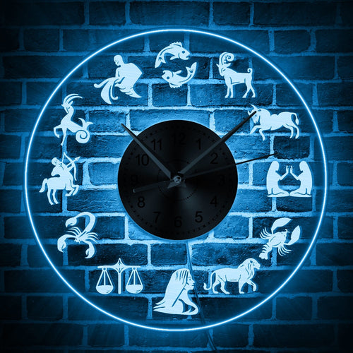 Zodiac Sign LED Light Wall Clock