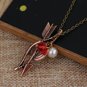 Teen Wolf Necklace Bow Arrow Archery Archer Pendant Necklace Crystal Jewelry