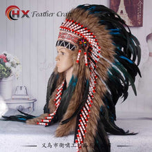 Load image into Gallery viewer, Turquoise Indian Headdress feather war bonnet
