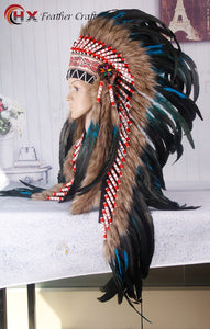 Turquoise Indian Headdress feather war bonnet