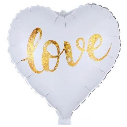 Love - White  Heart Foil  Balloon