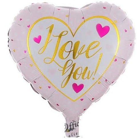 I Love you - White & Light Pink Heart Balloon