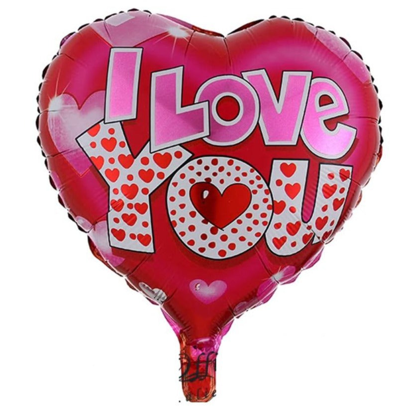 I Love You -Red,  Pink and Silver Balloon - VD