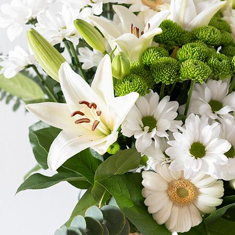 Familial Love with White Lilies and Gerberas