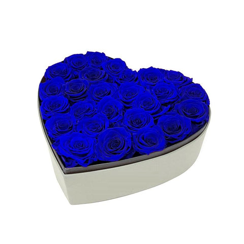 Blue Roses- Heart Shape Box - Arabian Petals