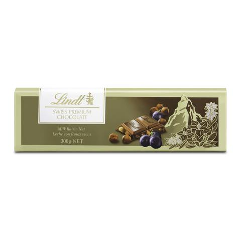 Lindt Swiss Premium Milk Raisin Nut Chocolate 300g