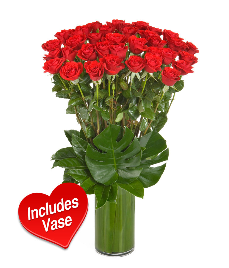 Vase with Red Roses - Arabian Petals