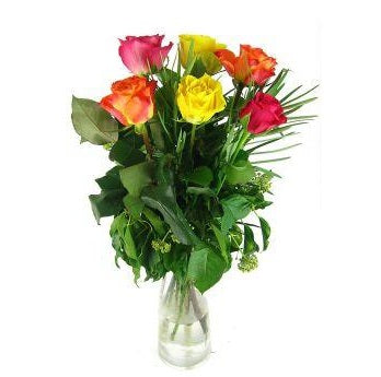 Mixed Roses with Vase - FWR - Arabian Petals