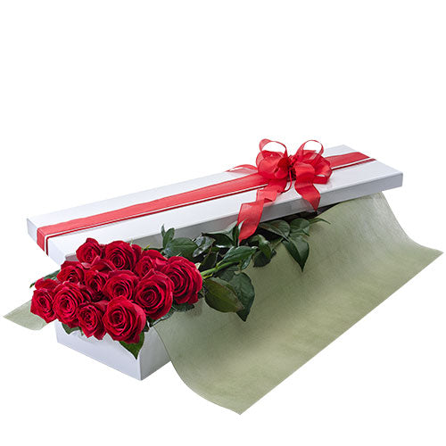 Presentation Box of  Long Stemmed Red Roses - Arabian Petals