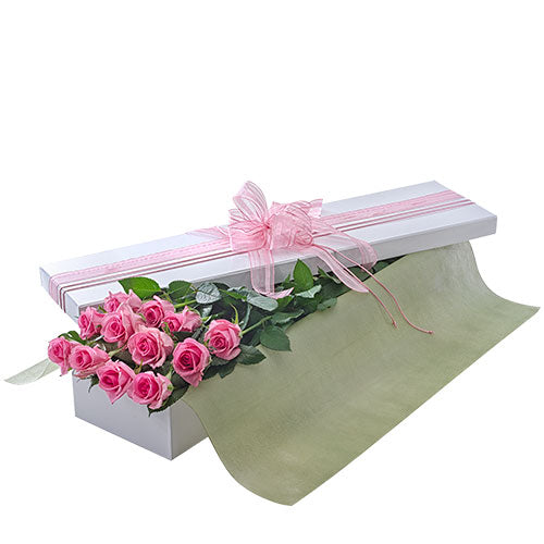 Presentation Box of Long Stemmed Pink Roses - Arabian Petals