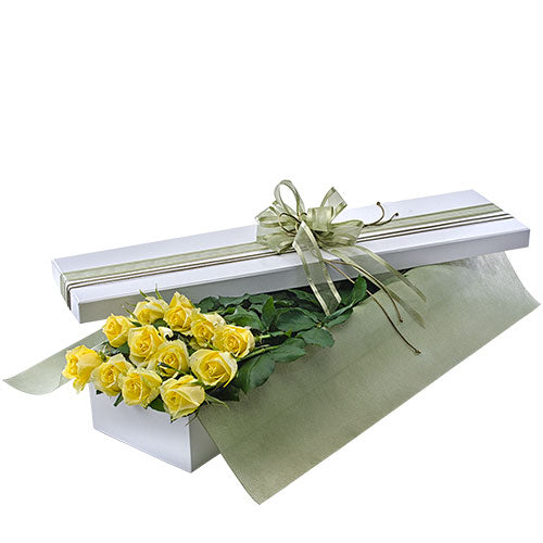 Presentation Box of Long Stemmed Yellow Roses - Arabian Petals