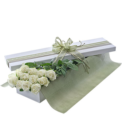 Presentation Box of Long Stemmed White Roses - Arabian Petals